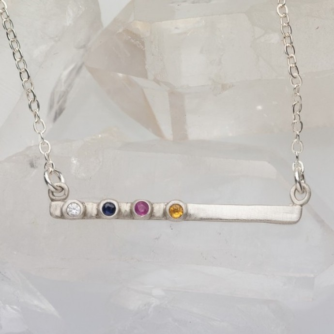 Cross Bar Bezel Birthstone Necklace Sterling Silver By