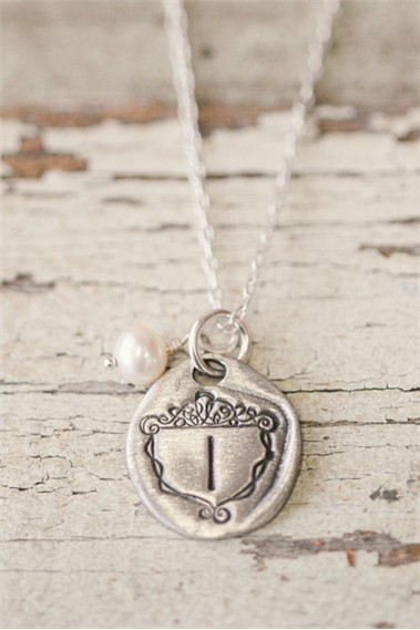 Petite Family Crest Necklace Pewter