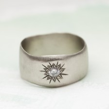 Sunburst Diamond Ring {10K White Gold}