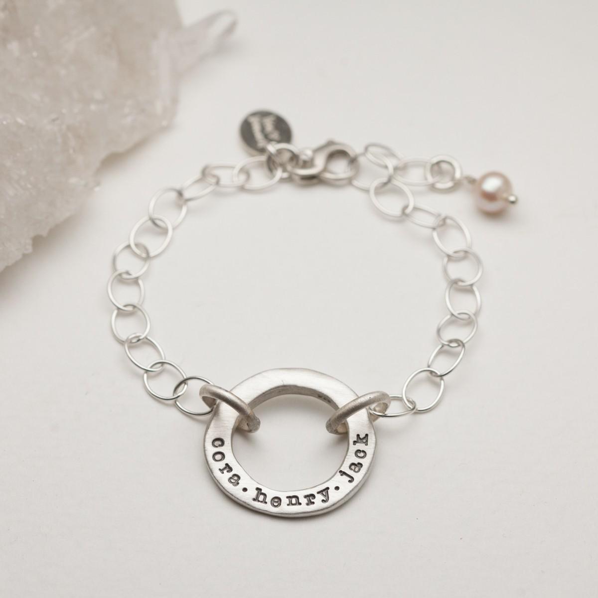 Open Circle Pearl Bracelet {sterling Silver}