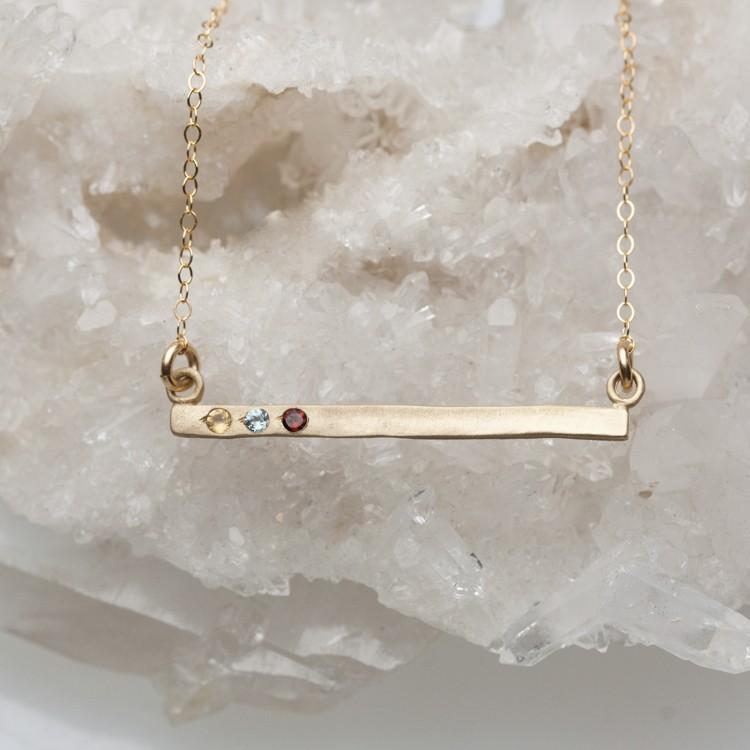 Birthstone Earrings Ideas: Cross Bar Birthstone Necklace {10K Gold} By Lisa Leonard
