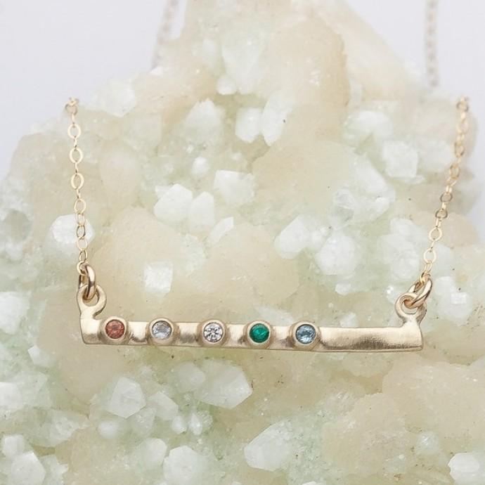 Cross Bar Bezel Birthstone Necklace 10k Gold By Lisa