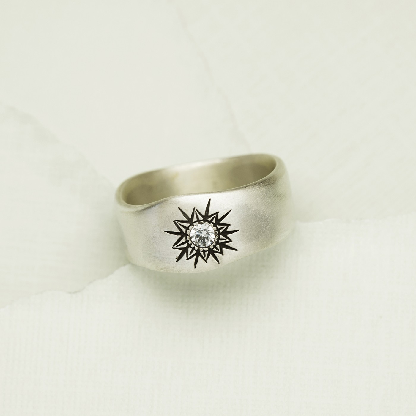 Sunburst Diamond Ring {Sterling Silver} - Ready To Ship