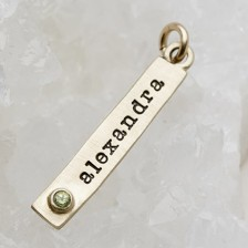 Bezel Birthstone Tag {10K Gold}