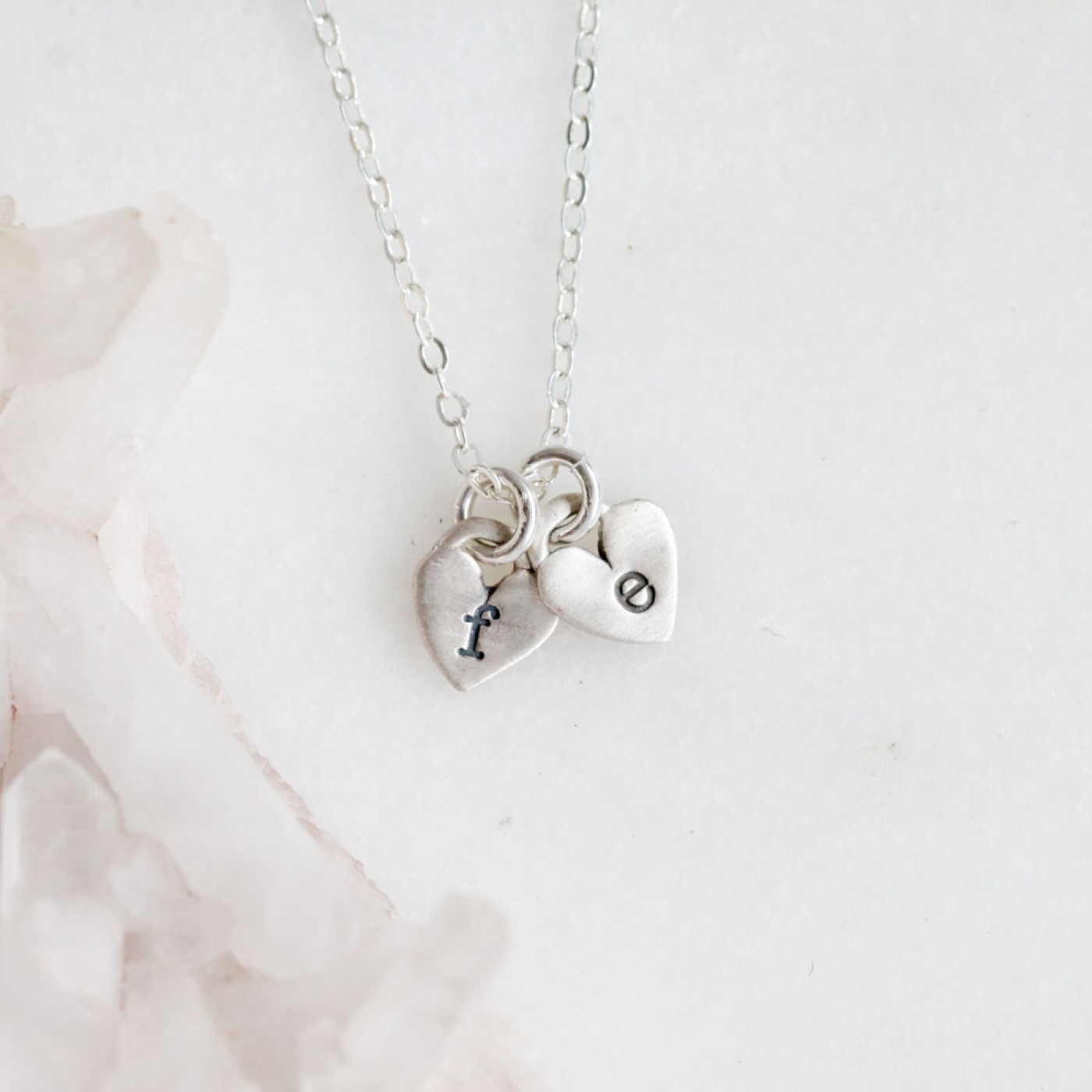 Cherished Hearts Initials Necklace Sterling Silver