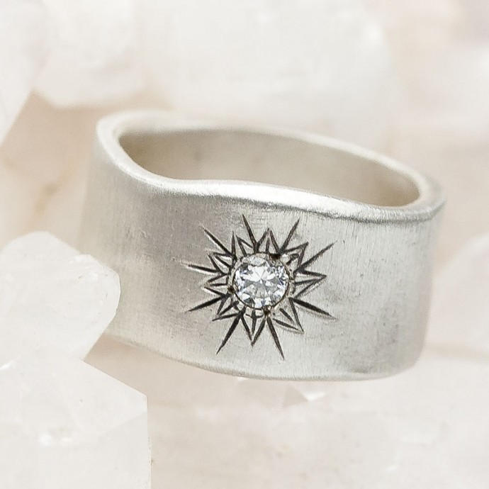Sunburst Diamond Ring Sterling Silver By Lisa Leonard