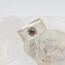 Sunburst Birthstone Ring {Sterling Silver}
