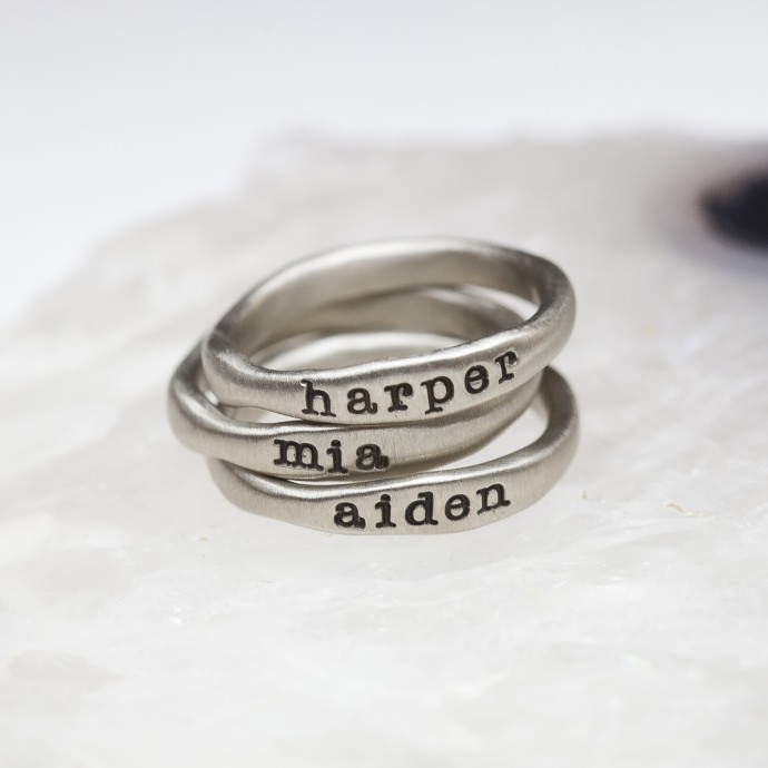 stacking name rings {10K White Gold} and their meaning by ...