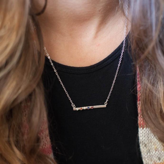 Cross Bar Bezel Birthstone Necklace Sterling Silver Amp 10k