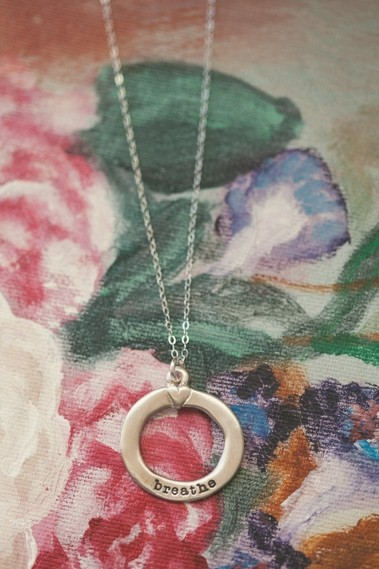 Open Circle Heart Necklace Sterling Silver