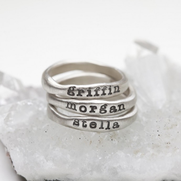 stacking name rings by Lisa Leonard Designs
