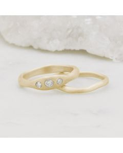 Be mine ring pair hand-molded and cast in 14k yellow gold set with a 3mm birthstone or a diamond