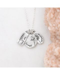 Personalized be you wildflowers necklace sterling silver