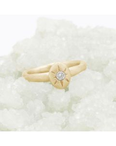 Bright love ring hand-molded in 14k yellow gold set with a 3mm birthstone or diamond