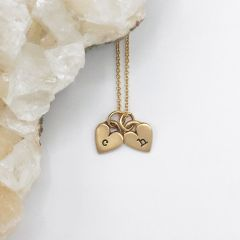 Cherished Hearts Initials Necklace {14k gold}