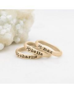 furry footprint 14k yellow gold stacking rings personalized with pet names