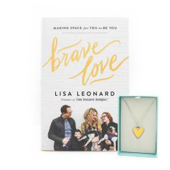 Brave Love Gift Set - Book and Yellow Heart Necklace {Pewter}