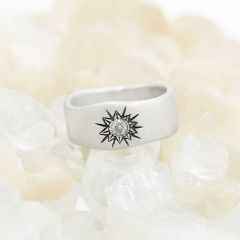 Sunburst crystal ring handcrafted in sterling silver and set with a 3mm bright cubic zirconia stone