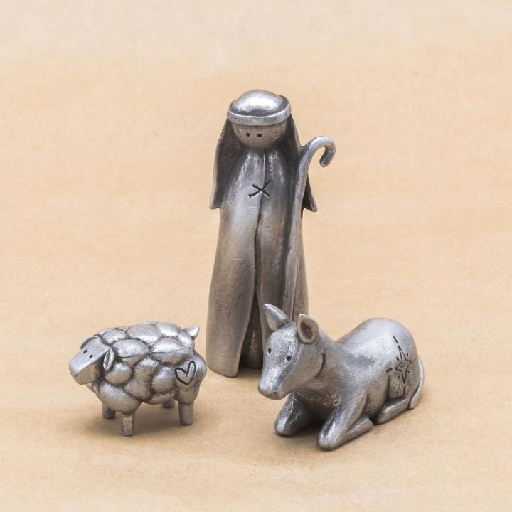 Shepherd Nativity Figurine Set {pewter}