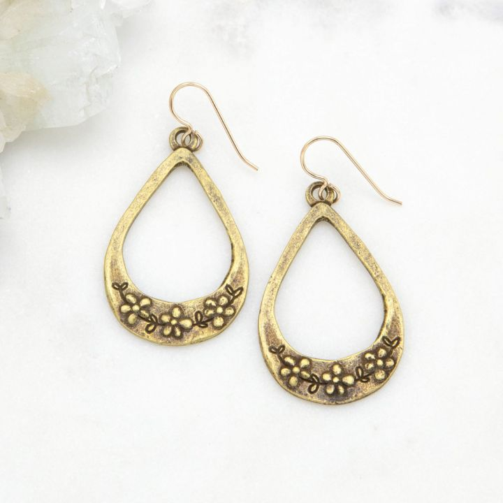 Bud and Blossom Drop Earrings {Bronze-Plated}