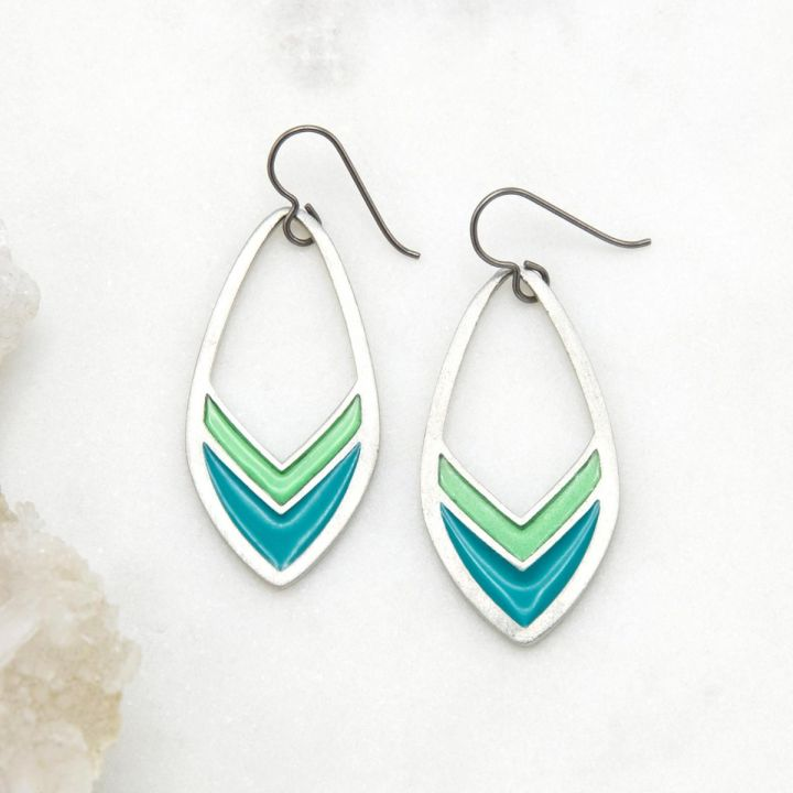 Vibrant Blue Feather Earrings {pewter}