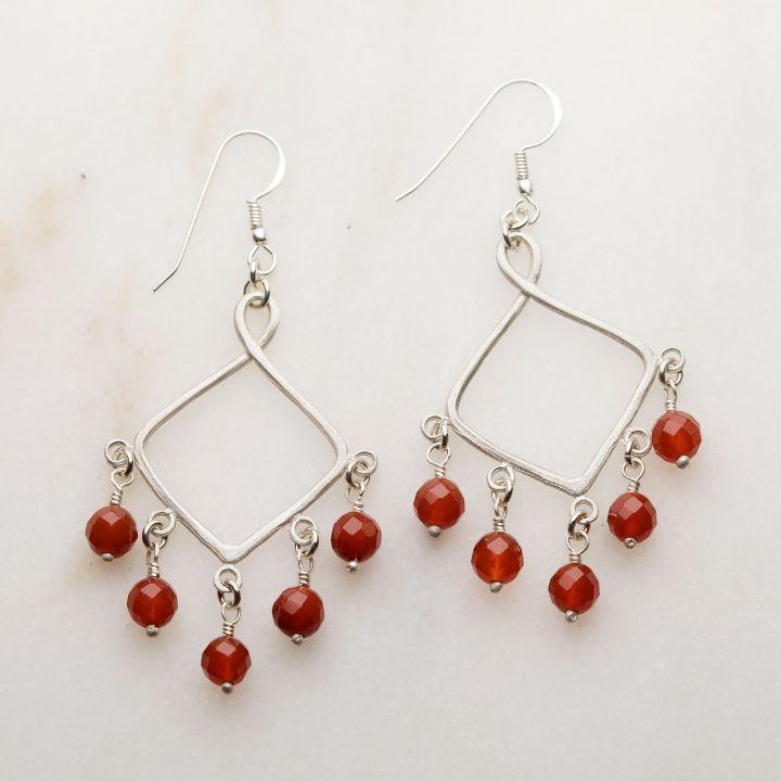 Swing Free Earrings - Carnelian {Sterling Silver}
