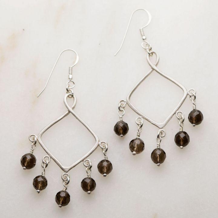 Swing Free Earrings - Smoky Quartz {Sterling Silver}
