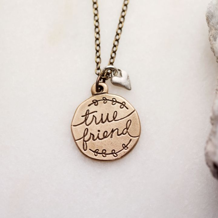 Heart To Heart True Friend Necklace {Bronze}