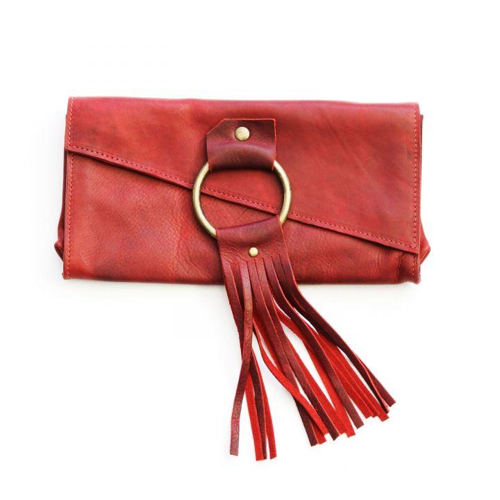 your heart in mine boho wallet {deep ruby}