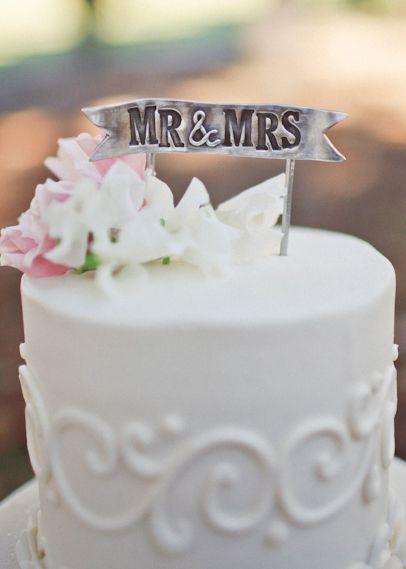 Mr & Mrs Banner Cake Topper {Pewter}
