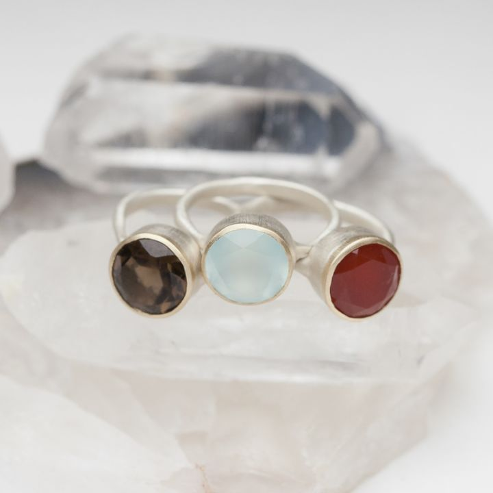 Large Gemstone Ring {Sterling Silver & 10K Gold}