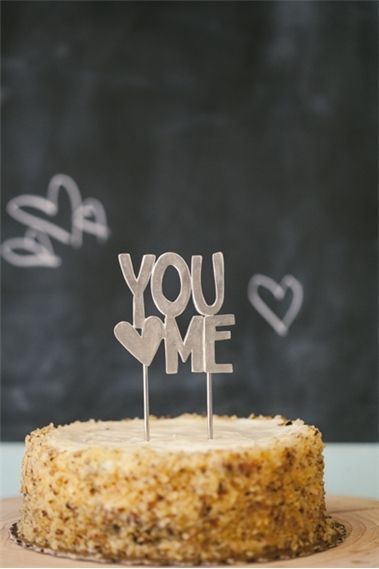 Stacked You ♥ Me Cake Topper {Pewter}
