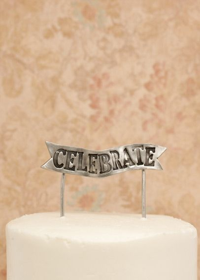 Celebrate Banner Cake Topper {Pewter}