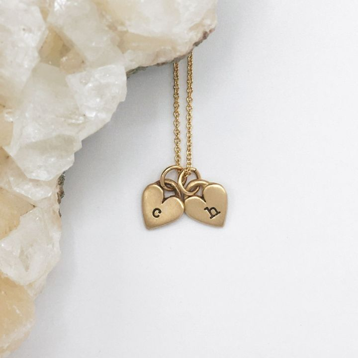 Cherished Hearts Initials Necklace {10k gold}