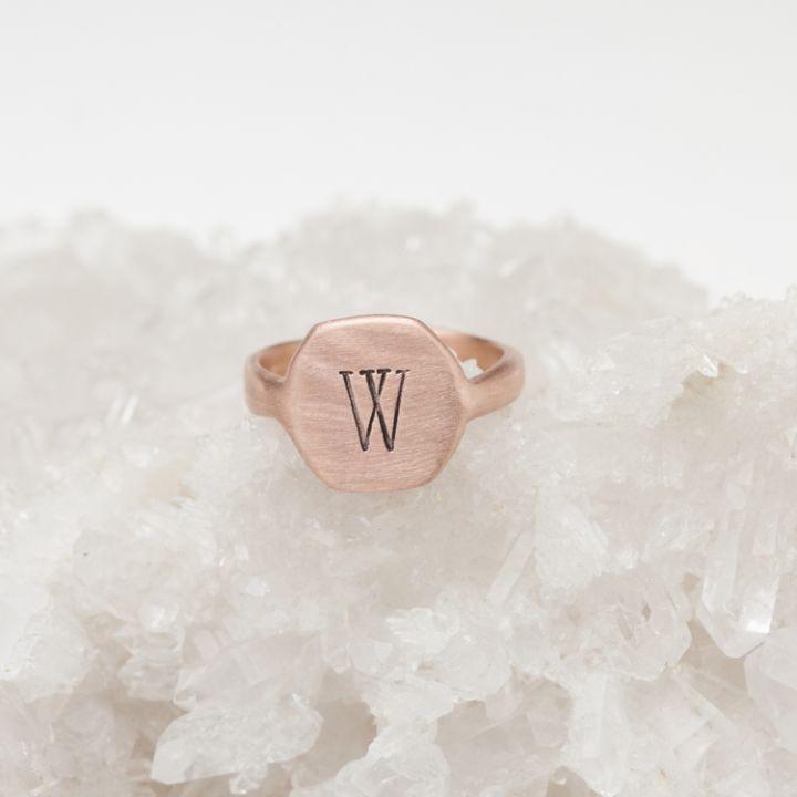 Signet Initial Ring {10K Rose Gold}