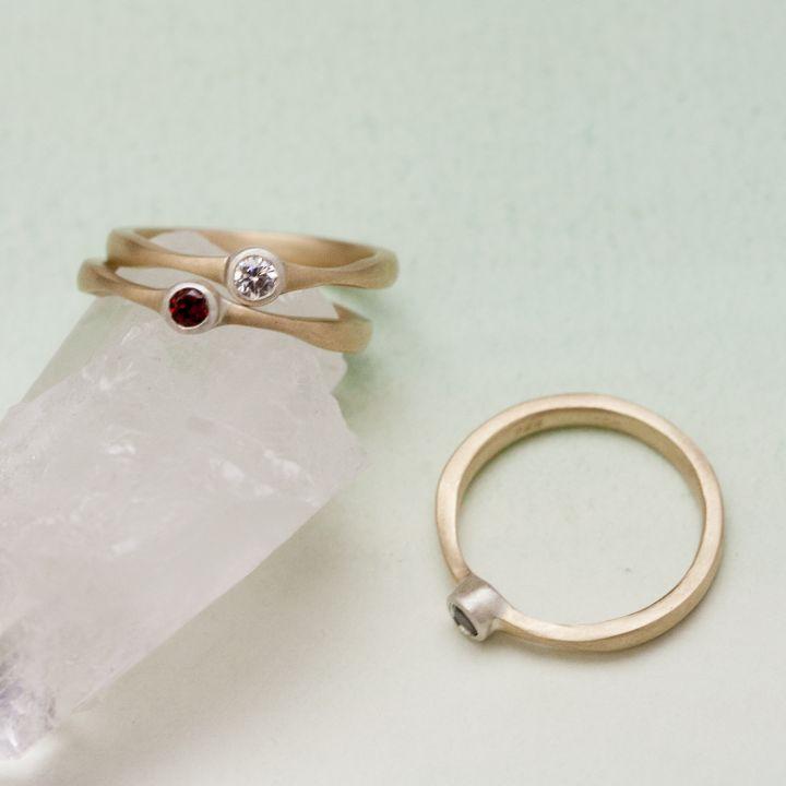 Bezel Birthstone Ring {10K Gold & Sterling Silver}