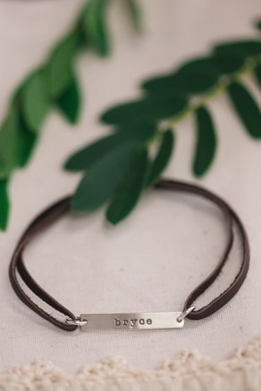 Skinny Tag Leather Bracelet {Sterling Silver}