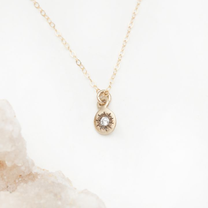 Delicate Sunburst Necklace {14K Gold}
