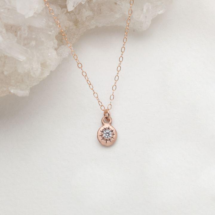 Delicate Sunburst Necklace {10K Rose Gold}