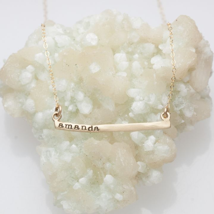 Personalized Cross Bar Necklace {10K Gold}