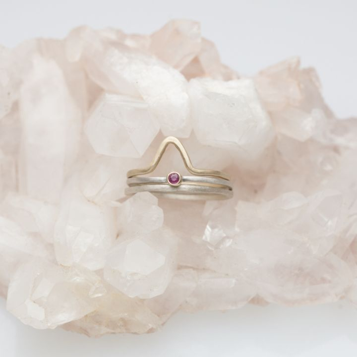 Winsome Ring Trio {Sterling Silver & 10K Gold}