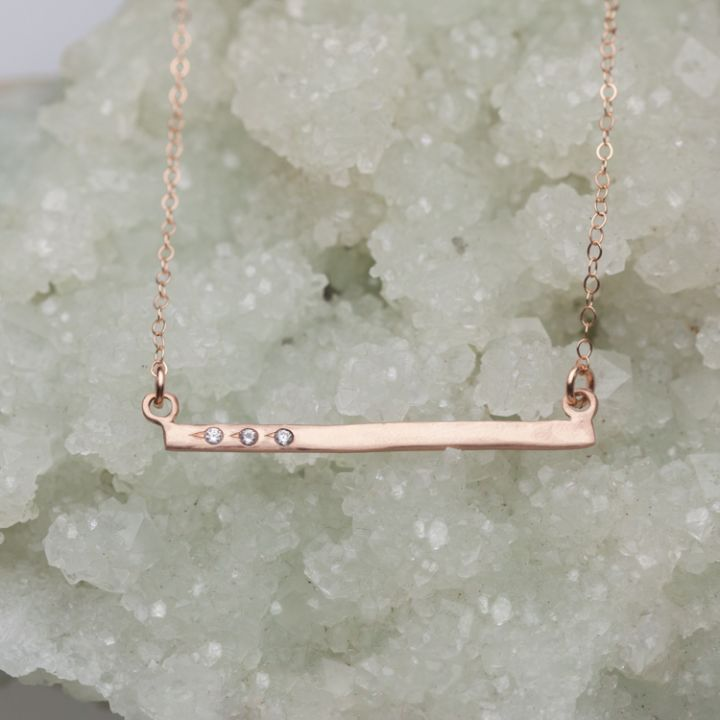 Cross Bar Necklace {10K Rose Gold}