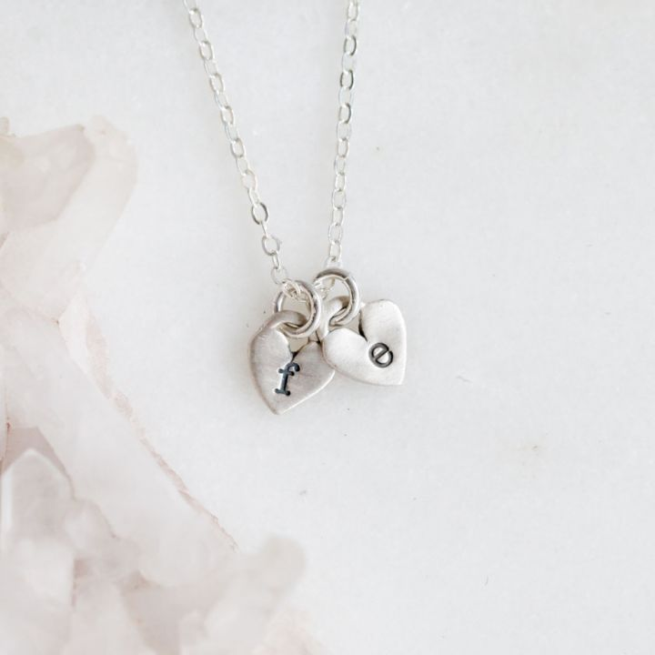 Cherished Hearts Initials Necklace {Sterling Silver}