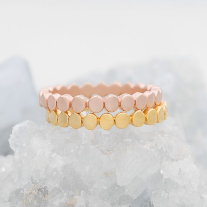 Circles In a Line Stacking Ring {Yellow Gold Plated}