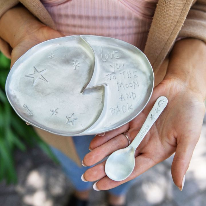 Love You to The Moon Plate & Spoon Set {Pewter}