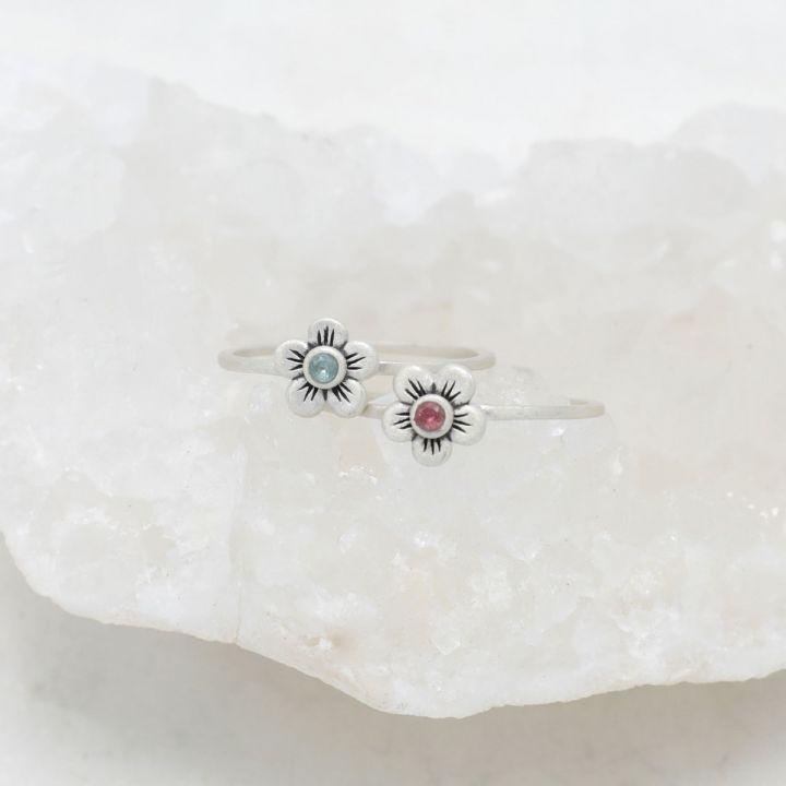 Birthstone Bloom Ring {Sterling Silver}