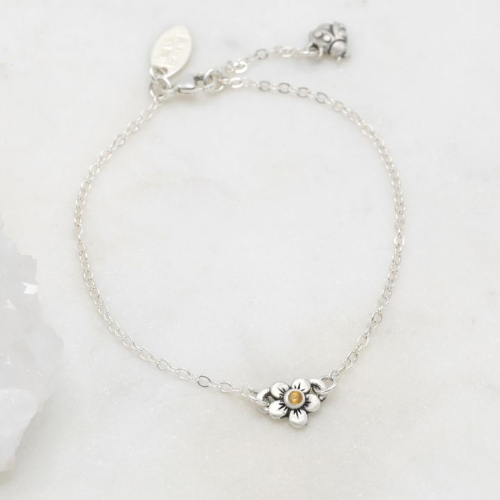 Birthstone Bloom Bracelet {Sterling Silver}