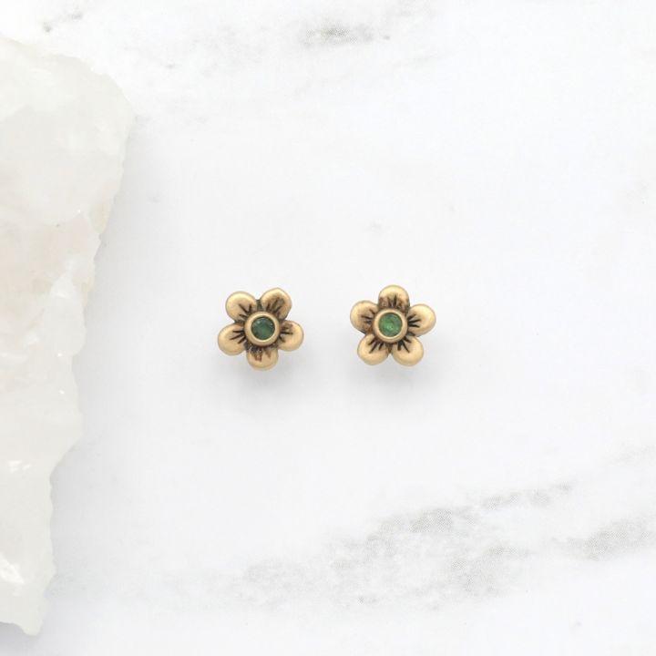 Birthstone Bloom Stud Earrings {14K Gold}