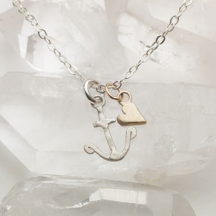 Anchored Necklace {Sterling Silver & 10K Gold}