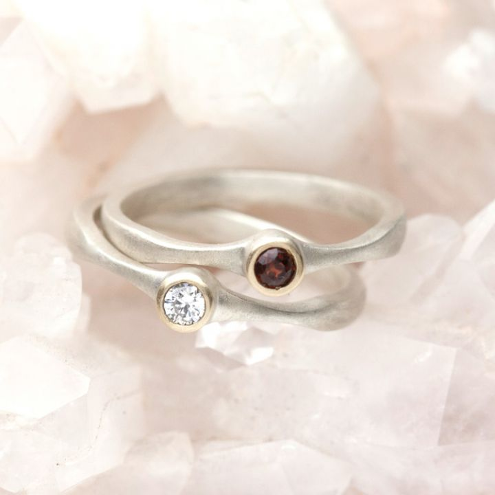 Bezel Birthstone Ring {Sterling Silver & 10K Gold}